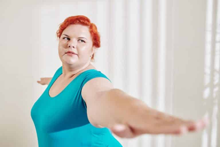 weight loss exercising plus size woman